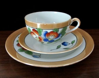 Lusterware Hand Painted Tea Cup, Saucer And Dessert Or Snack Plate