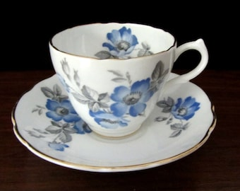 Blue Floral English Castle Bone China Teacup and Saucer From Staffordshire, England