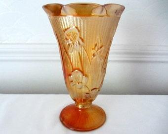 Jeannette Marigold Iris And Herringbone Carnival Glass Vase