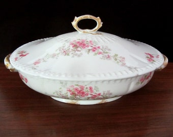 1940s Oval CH Field Haviland Limoges Floral Serving Bowl With Lid
