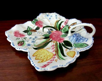 Blue Ridge China Hand Painted Nova Rose Relish Tray With Handle