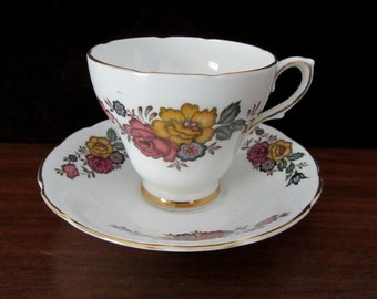 Delphine Bone China Floral Teacup and Saucer Set