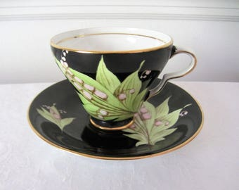 Taylor Kent Black And Green Bone China Teacup And Saucer With Lilly Of The Valley. Made In England