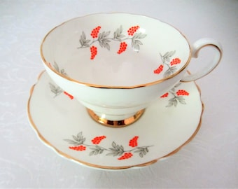 Crown Fine Bone China Tea Cup And Saucer Set With Orange Berries. Made In England