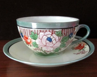 Ultra Thin Fine China Lusterware Floral Teacup and Saucer Set From Japan