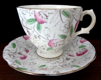 Royal Stuart Spencer Stevenson Floral Teacup And Saucer Set. Made In England