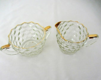Clear Glass Sugar And Creamer Set With Gold Trim