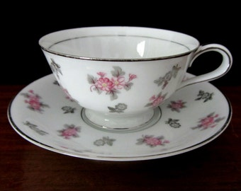 Noritake Floral Teacup And Saucer Set In The Anita Pattern