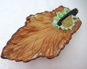Blue Ridge Hand Painted China Leaf Shaped Celery, Relish Or Vegetable Tray