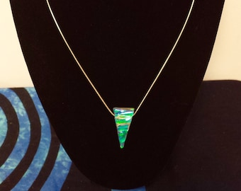 Dichroic glass pendant w sterling silver chain- one of a kind