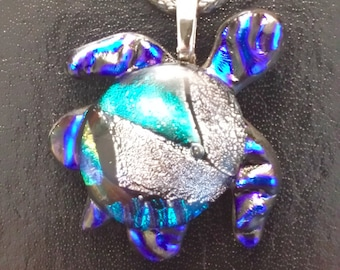Dichroic Glass Turtle Pendant -One Of A Kind