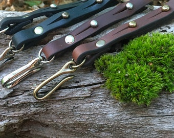 Japanese Fishhook Leather Keychain - READY TO SHIP