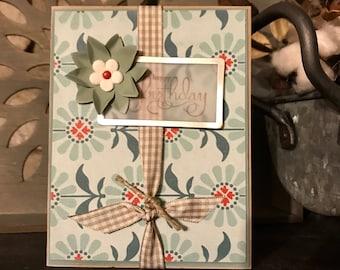 Kraft and Sage Happy Birthday Flower Handmade Greeting Card