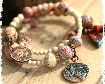 Good luck beaded charm bracelet, angel + Indian head penny layered bracelet, gift for women, rustic bohemian jewelry