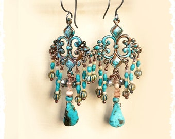 Romantic turquoise earrings cross and flower, Mothers Day gift, elegant hand patina-ed dangle drop earrings