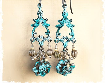 Romantic turquoise flower earrings, Mothers Day gift, elegant hand patina-ed dangle drop earrings
