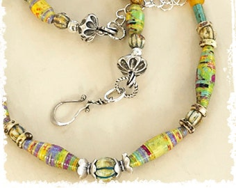 Short mixed bead necklace to layer, paper anniversary gift for her, southwestern style, adjustable necklace