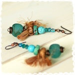 On hold for Alexanddra - Boho green dangle earrings - turquoise, recycled African glass and sari silk drop earring for women,
