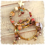 On hold for Alexandra - Hearts and flowers memory wire bracelets, boho stacking bracelets gift for women, rustic bohemian jewelry,
