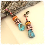 Boho turquoise earrings, gift for her, funky arty beaded earrings, southwest earrings, colorful post earrings one of a kind