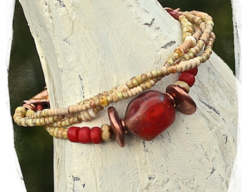 Bohemian Bracelet Multistrand Gift for Her Bold Red Nugget African Clay Beaded Ethnic Tribal Southwest Sundance Style