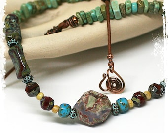 Rustic Rough Stone Boho Short Necklace Southwestern Raw Stone Cowgirl Necklace Layering Jewelry