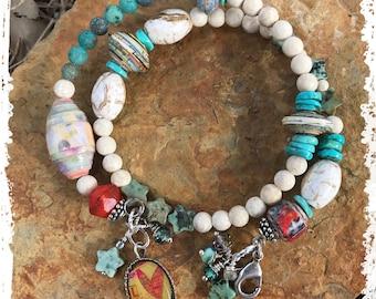 Spring bracelet charms and dangles, star beaded bracelet,
