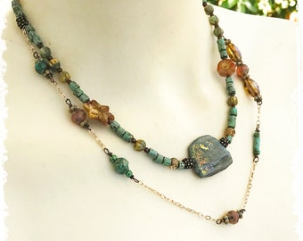 2 strand labradorite necklace, short boho layered necklace,