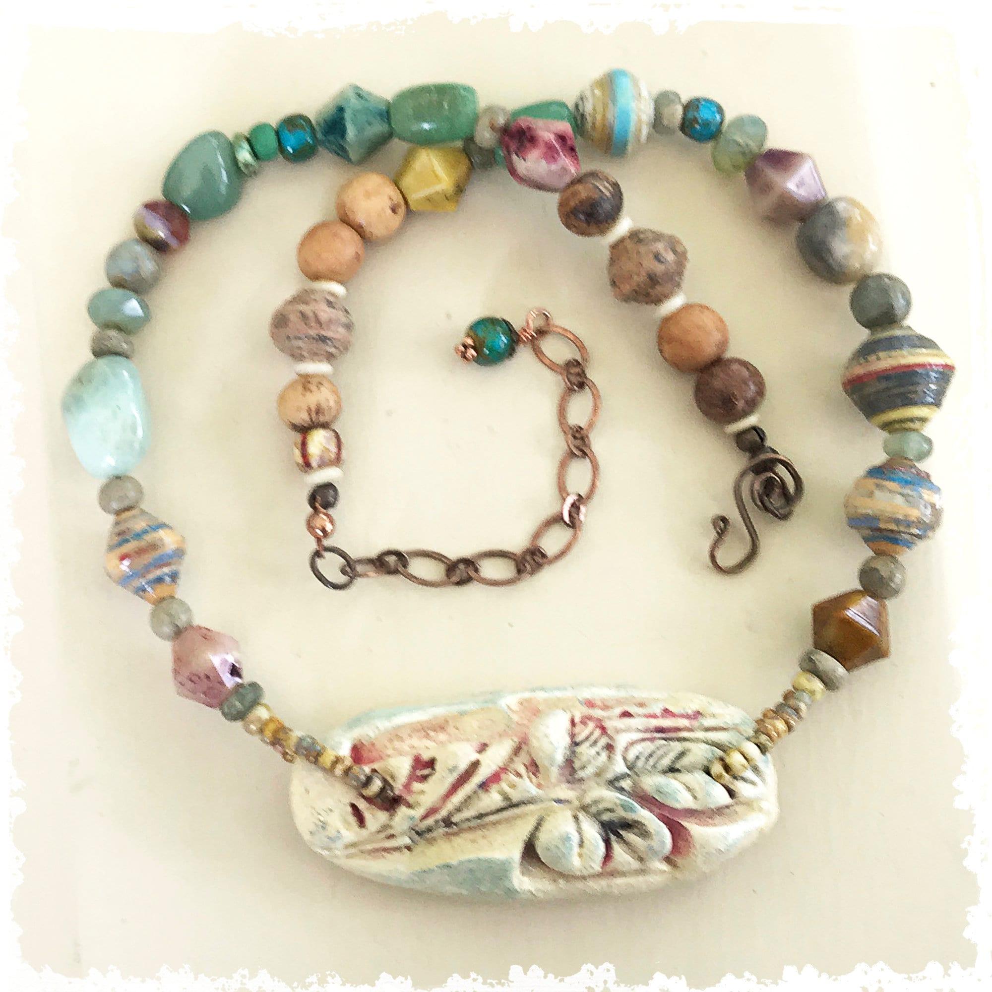 Colorful Multi Strand Boho Bracelet Bohemian OOAK Bracelet Handmade Chunky Bracelet Mixed Gemstones Earthy Colors Bead Mix