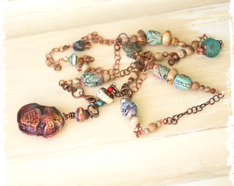 Sacred Heart pendant, beaded necklace, Mother's Day gift, Art to Wear, boho heart necklace, rustic handcrafted pendant