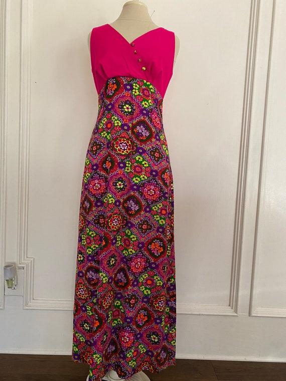 1970s vintage Hawaiian floral mums short sleeve polyester maxi dress women/'s size Small-Medium