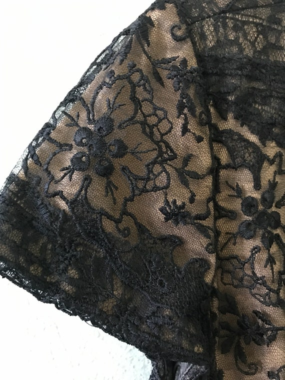 Tadashi Shoji Black Lace Dress Size 12 Midi Length Designer Dress Little Black Dress Flapper Dress 1920s 1930s Art Deco