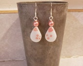 Fabulous Upcycled Pink Gooseberry Pyrex Earrings