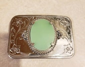 Interchangeable Upcycled Pyrex Silver Plate Belt Buckle Spring Blossom, Woodland or Jadeite