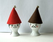 Joulu Tonttu - original hand-drawn eggcup with hat