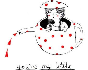 Nursery art print: My Little Teapot. Small cute kids illustration print - thoughtful gift for kids room wall art, nursery, or baby shower.