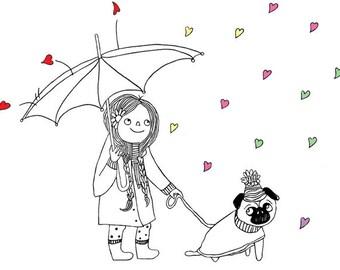 Girl with pug walking in rain - illustration print for nursery. Wall art gift for dog lovers, animal lovers, & pug lovers!