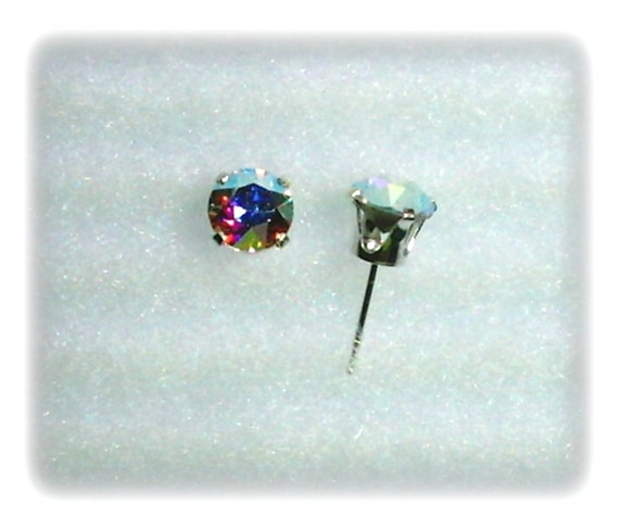 many fashionable great discount for top design 6mm Multicolor Swarovski Crystal Chatons in 925 Sterling Silver Stud  Earrings SnapsByAnthony