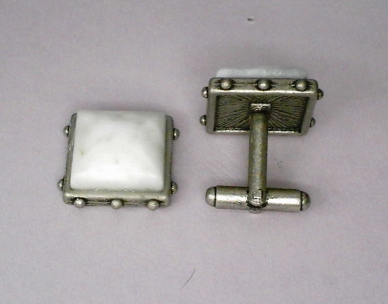 17mm White Quartz Gemstone Cabochons on Base Metal Cuff Links