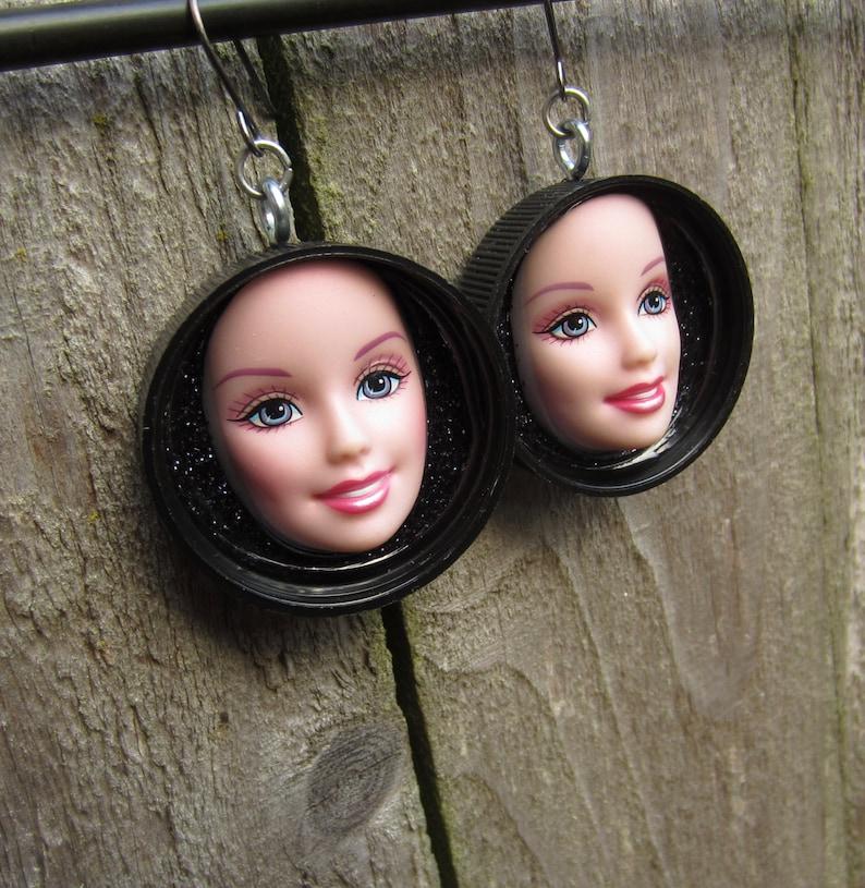 black caps Upcycled KEN doll hand earrings