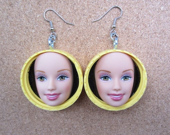 Sunshine Yellow - upcycled Barbie doll face earrings