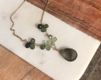 Rutilated teardrop on goldilled chain necklace with Tourmaline clusters
