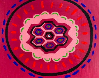 Come On Down To The Hive / original / hexagonal / painting / 5790