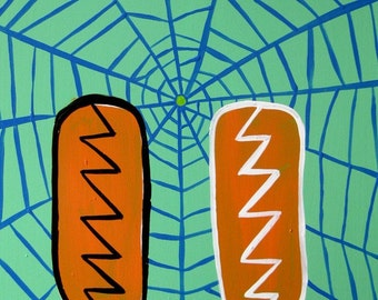 original painting / More Spiderweb, More Popsicle, More Electricity / 2822 / O what a tangled web we weave frozen dessert and electrons