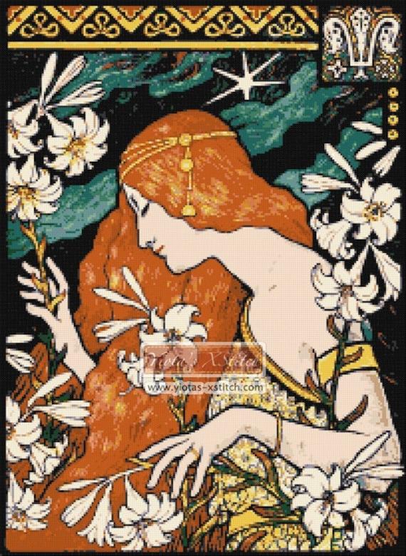Art Nouveau Lady Ad Poster Berthon Counted Cross Stitch Pattern Chart Graph