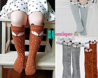b45e3c3bc The Boutique kids baby girl FOX socks brown gray black girl boy tribal  woodland animals