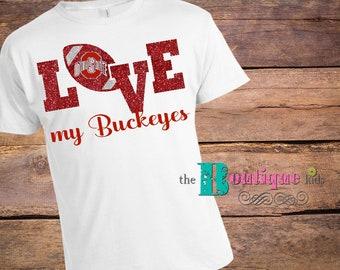 4c47f7da The Boutique Kids ladies OSU Glitter Love tee tshirt women XS-2X Ohio State  Buckeyes white red scarlet gray