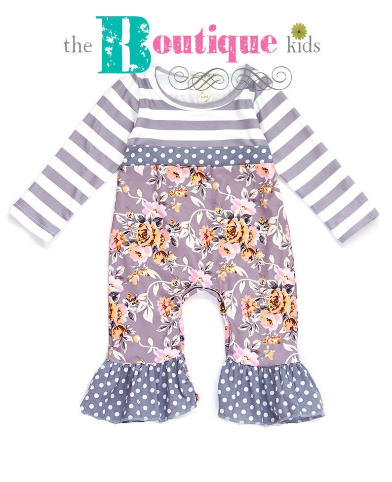 The Boutique kids baby girl FALL Winter gray white stripe floral pink polka dots ruffle romper autumn triple ruffle one piece