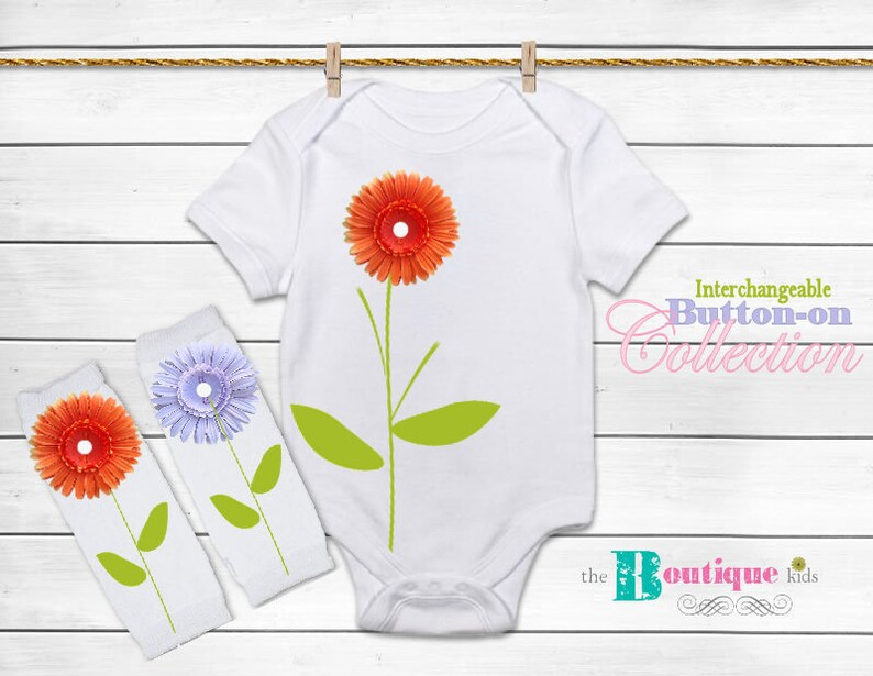 The Boutique kids baby girl Interchangeable daisy flowers onesie outfit Button on flowers Spring Easter Summer Accessory Connectz\u00ae