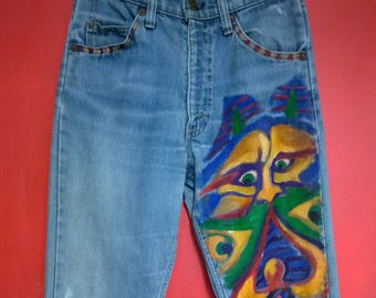 Vintage 70s Levis, Hand-Painted Mom Boyfriend Jeans  Monsters Abstract Colorful Painting by Artist Virginia Zuelsdorf